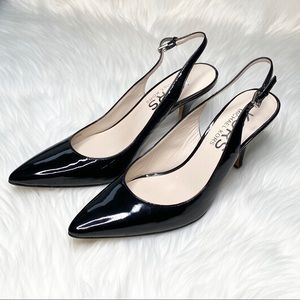 KORS Michael Kors black patent sling back pumps